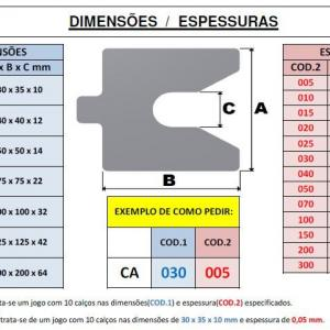 Calços para alinhamento de compressores